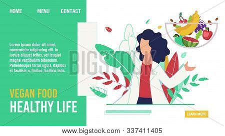 Vegan Food For Healthy Life Promoting Flat Landing Page. Cartoon Female Doctor Nutritionist Dieting