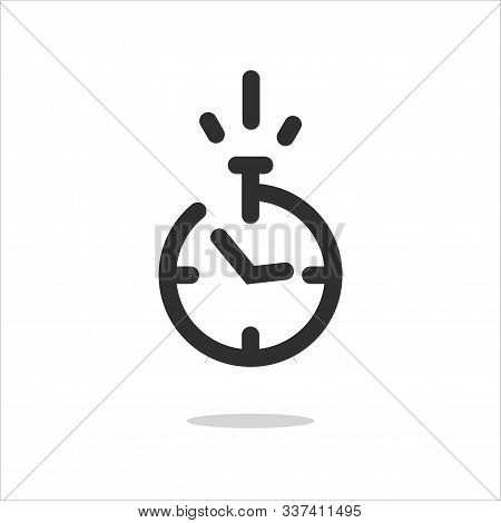 Stopwatch Icon Or Timer Pictogram With Fast Time Count Down Vector Line Outline Art Chronometer Symb