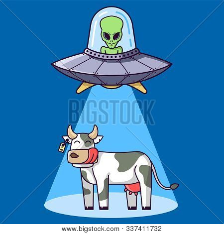Alien Plate With Green Alien Kidnap A Cow On A Farm. Flat Vector Illustration.