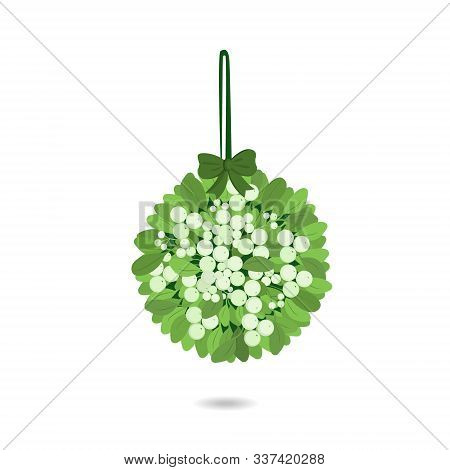 Mistletoe. Vector Illustration Of Hanging Mistletoe Sprigs With With Berries And Red Bow Isolated On