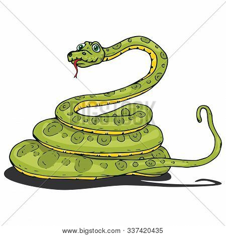 Snake Icon. Vector Illustration Of A Cute Snake Curled Up Into Rings. Hand Drawn Cartoon Snake Pytho