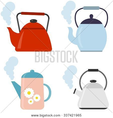 Tea. Fresh Brewed Tea - Teapot, Pour In A Cup Of Tea. Vector Illustration Of Logo For Ceramic Teapot
