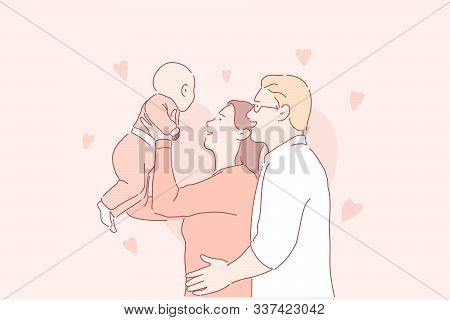 Happy Parenthood, Young Family, Childcare Concept. Cheerful Man And Woman With Newborn Baby, Joyful