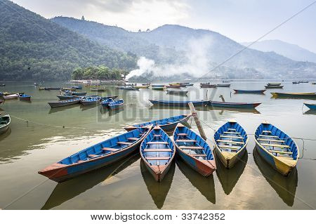 Wooden Pleasure Boats On Fewa Lake In Pokhara