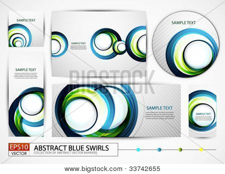 Big set of banners | headers | backgrounds with abstract swirl design