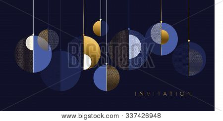 Christmas Modern Concept Baubles Geometric Composition. Lux And Business Style Laconic Xmas Design E