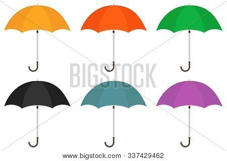 Umbrella, Set Of Umbrellas. Vector Illustration Of An Umbrella.