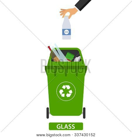 Hand Throws Garbage In The Trash. Man Throws Garbage Into The Container. Flat Design