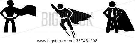 Super Hero Icon On White Background Vector, Woman