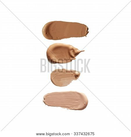 Vector Bb Cream Concealer Brush Strokes, Embossed Tonal Probe, Color Samples Collection, Different S