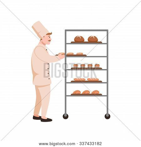 Smiling Baker With Bread Flat Vector Illustration. Bread Maker With Bakery Assortment Isolated On Wh
