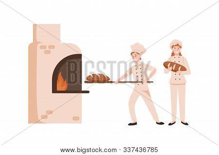 Smiling Female Bakers Baking Bread Flat Vector Illustration. Happy Bakery Workers Preparing Tasty Lo