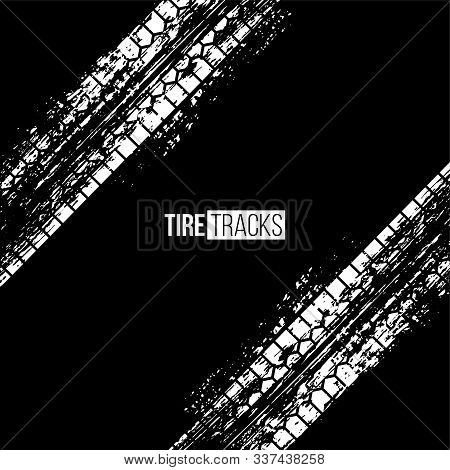 Tire Tracks Vector Illustration. White Grunge Automobile Wheel Imprints On Black Background. Dirty M