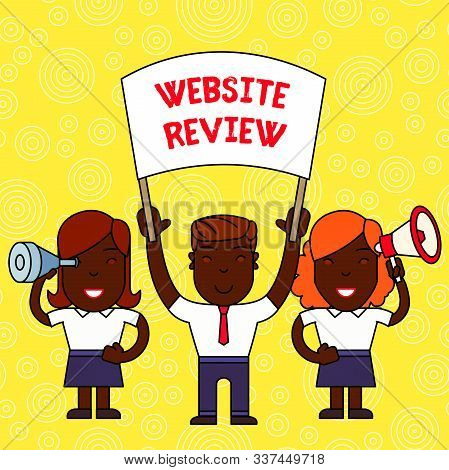 Word writing text Website Review. Business concept for Reviews that can be posted about businesses and services People with Blank Banner, Megaphone and Spy Glass Peaceful Demonstration. poster