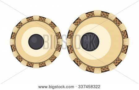 Indian Musical Instrument Tabla With Top View For Your Poster Design. Vector Illustration.