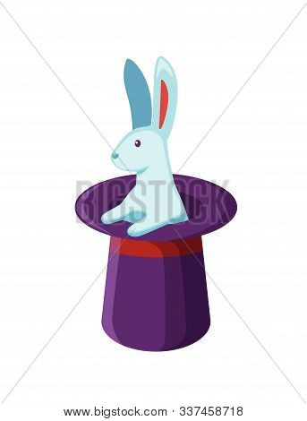 Bunny In Magician Hat Flat Vector Illustration. Magic Trick, Mystery Entertainment. Rabbit In Magica