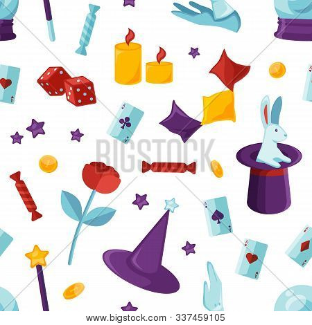 Equipment For Magic Show Seamless Pattern. Purple Wizard Cylinder With White Rabbit, Illusionist Whi