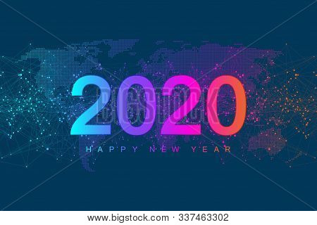 Merry Christmas And Happy New Year 2020 Greeting Card. Modern Futuristic Template For 2020. Digital