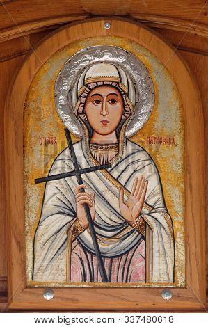 OHRID, MACEDONIA - MAY 04, 2019: Saint Paraskeva, altarpiece in the Church of Saint Paraskeva of the Balkans near Saint Naum Monastery, Ohrid in Macedonia