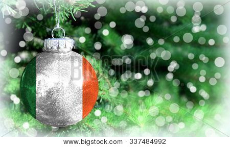 Christmas And New Year Background With A Flag Of Ireland