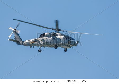 Cadiz, Spain-sep 12:  Helicopter Sh-60b Seahawk Taking Part In An Exhibition On The 1st Airshow Of C