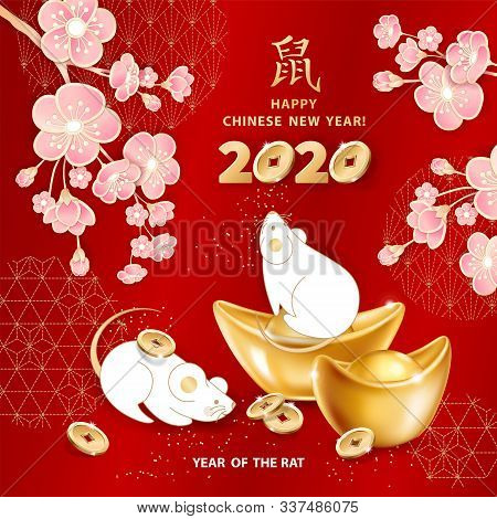 White Metal Rat Is A Symbol Of 2020 Chinese New Year. Greeting Card With Realistic Gold Ingots Yuan