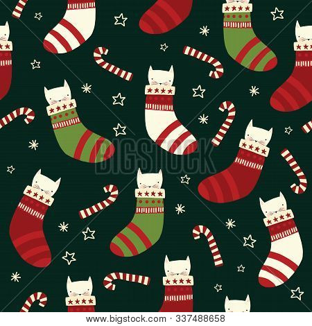 Christmas Cats Seamless Vector Background With Kittens In Stockings, Candy Canes. Repeating Holiday