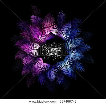 Neon Tropical Night Summer Party Vector Background. Hawaiian Party. Dark Jungle Tropical Exotic Illu