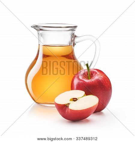 A Jug Of Apple Juice With Red Apples Isolated On White Background
