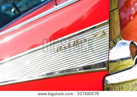 Rushmoor, Uk - April 19: Closeup Of A Vintage Chevrolet Bel Air Vehicle Badge In Rushmoor, Uk - Apri