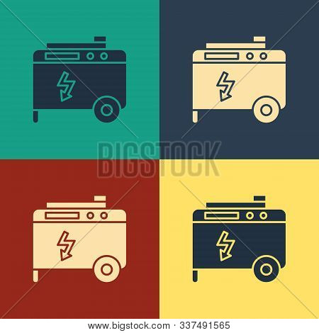 Color Portable Power Electric Generator Icon Isolated On Color Background. Industrial And Home Immov