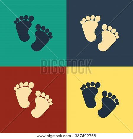 Color Baby Footprints Icon Isolated On Color Background. Baby Feet Sign. Vintage Style Drawing. Vect