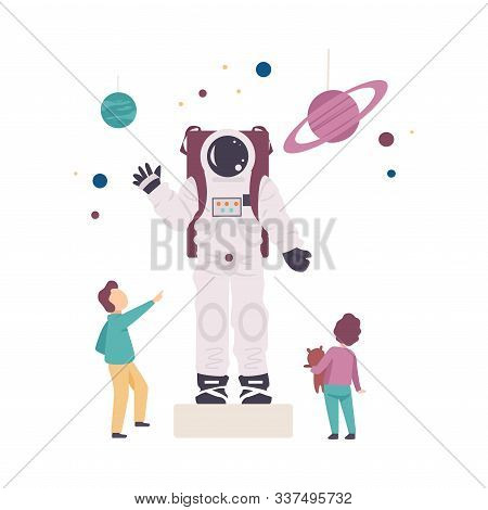 Little Kids Standing Near Costume Of Astronaut And Exploring It Vector Illustration