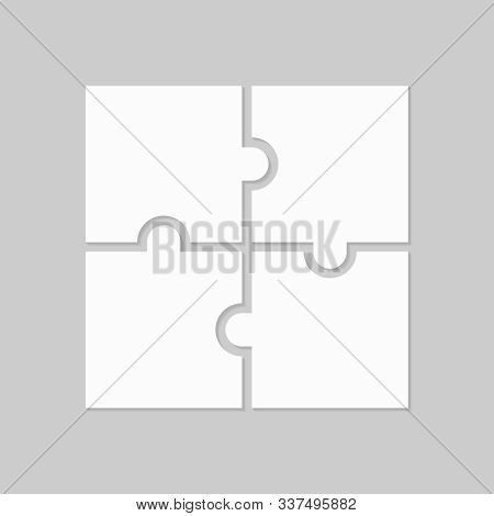 Four Blank Puzzle Pieces. Puzzle For Web, Information Or Presentation Design, Infographics. White Pu