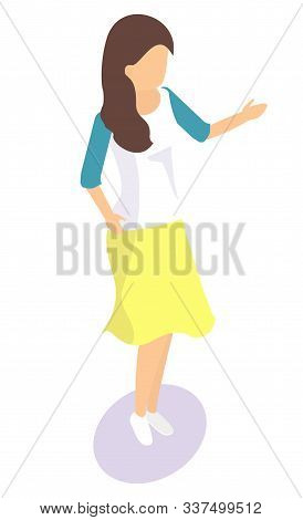 Cartoon Female Character Template. Girl With Brown Hair Wearing Yellow Skirt And White Shirt With Bl