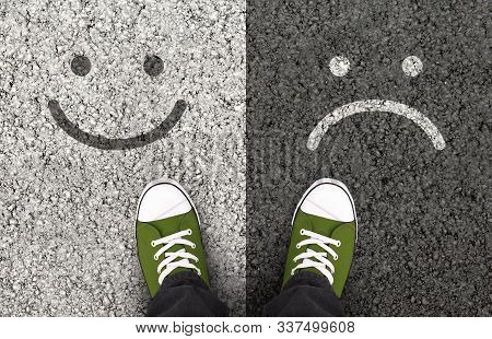 Pros And Cons, Arguments For Or Against A Particular Issue. Smiles Drawn On Asphalt Road