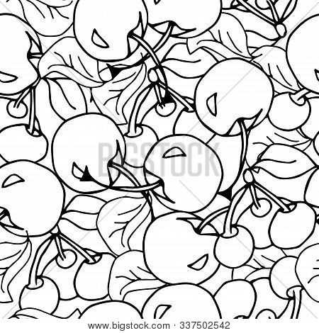 Cherry Seamless Pattern. Fruit Background. Good Food For Textile, Wrapping, Texture, Tablecloth, Cur