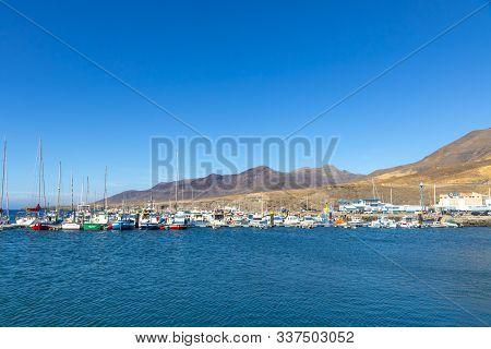 Morro Jable, Spain - December 9, 2018: Port Of Morro Jable On The South Coast Of Fuerteventura Islan