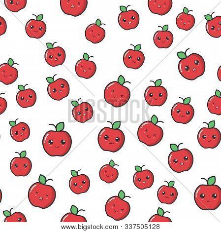 Kawaii Seamless Pattern. Kawaii Apple With Cute Black Eyes. Kawaii Fruit With Emotional Faces Seamle