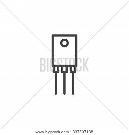 Electronic Transistor Line Icon. Linear Style Sign For Mobile Concept And Web Design. Power Transist