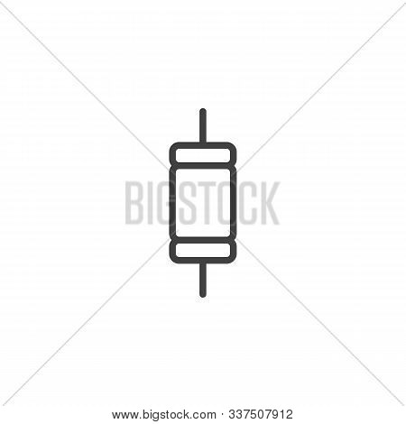Electronic Component, Resistor Line Icon. Linear Style Sign For Mobile Concept And Web Design. Resis