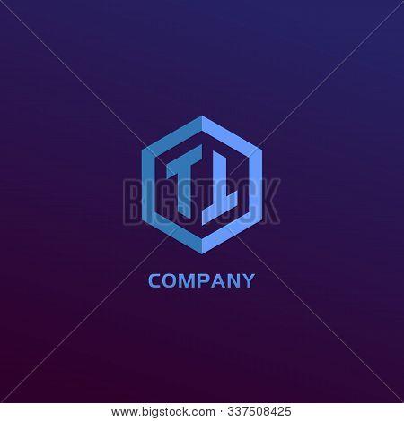 Letter Tt Alphabetic Logo Design Template, Light Blue Hexagon Logo Concept, Blue Gradation Backgroun