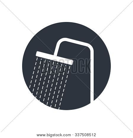 Shower Head With Trickles Water Graphic Icon. Douche Sign In The Circle Isolated On White Background