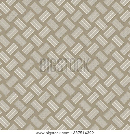 Vector Abstract Basket Weave Design In Gold Brown Seamless Repeat Pattern. Background For Textiles,