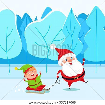 Santa Claus And Elf Cartoon Character On Sleigh Walking In Winter Park. Christmas Holiday Card With