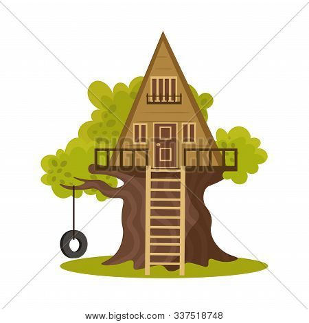 Wooden Triangular House On Green Blooming Tree Vector Illustration