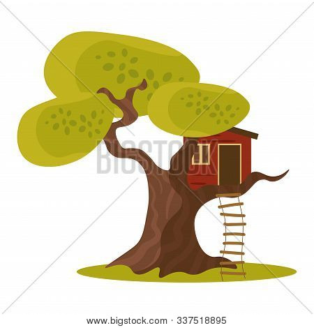 Red House On Green Tree With Hanging Ladder Vector Illustration