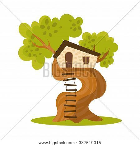Wooden House On Tree With Ladder Vector Illustration