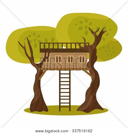 Wooden House On Tree Trunks With Ladder Vector Illustration