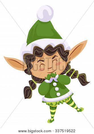 Christmas Character Isolated Personage With Long Ears. Xmas Elf Wearing Costume And Hat. Cute Child